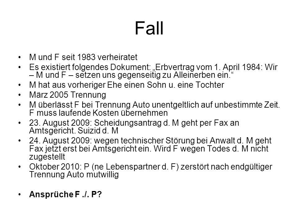 Fall M und F seit 1983 verheiratet Es existiert folgendes Dokument: Erbvertrag vom 1. April 1984: Wir – M und F – setzen uns gegenseitig zu Alleinerbe