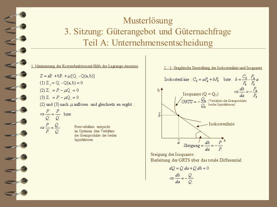 Musterlösung 3. Sitzung: Güterangebot und Güternachfrage Teil A: Unternehmensentscheidung 1. Minimierung der Kostenfunktion mit Hilfe des Lagrange-Ans