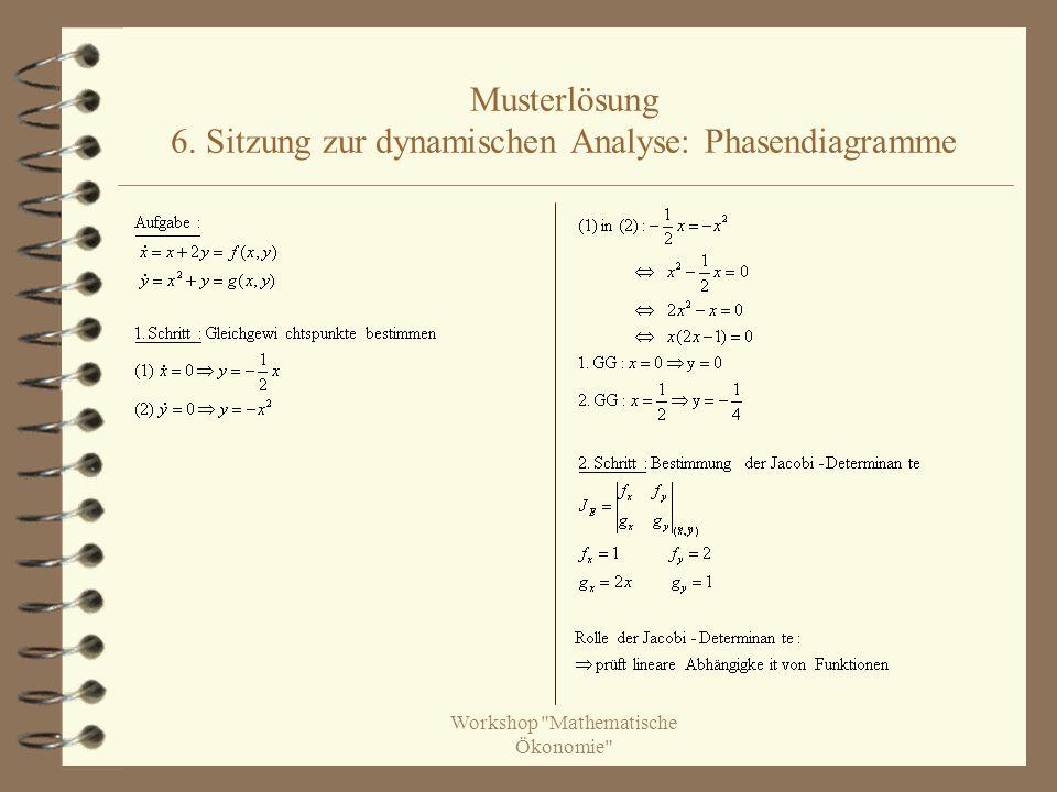 Musterlösung 6. Sitzung zur dynamischen Analyse: Phasendiagramme