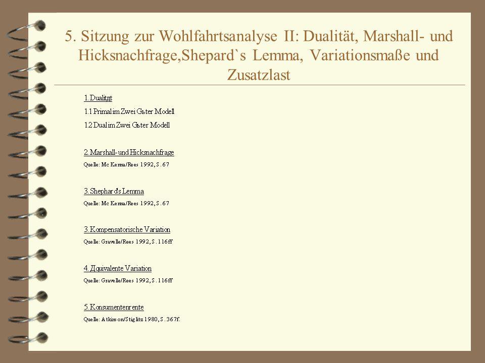 5. Sitzung zur Wohlfahrtsanalyse II: Dualität, Marshall- und Hicksnachfrage,Shepard`s Lemma, Variationsmaße und Zusatzlast