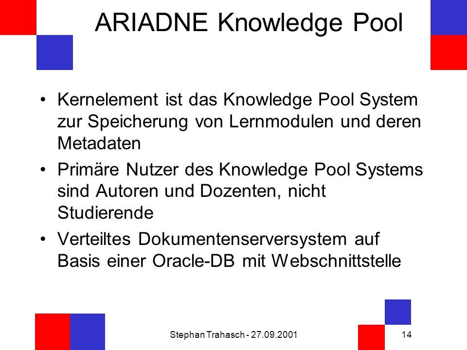 Stephan Trahasch - 27.09.200114 ARIADNE Knowledge Pool Kernelement ist das Knowledge Pool System zur Speicherung von Lernmodulen und deren Metadaten Primäre Nutzer des Knowledge Pool Systems sind Autoren und Dozenten, nicht Studierende Verteiltes Dokumentenserversystem auf Basis einer Oracle-DB mit Webschnittstelle