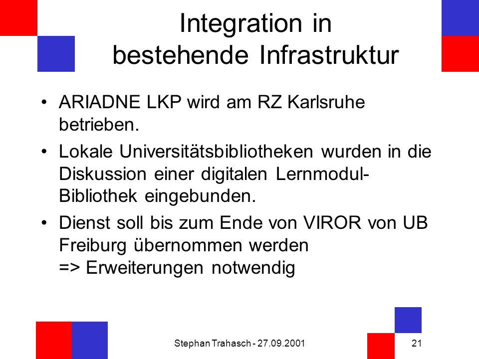 Stephan Trahasch - 27.09.200121 Integration in bestehende Infrastruktur ARIADNE LKP wird am RZ Karlsruhe betrieben.