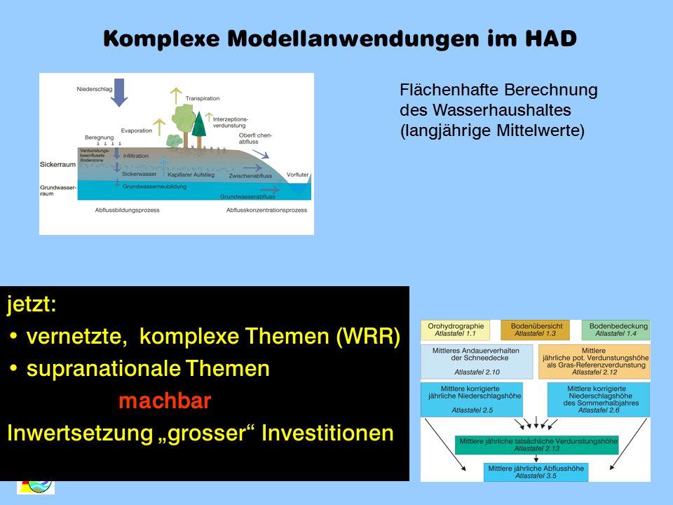 Flächenhafte Berechnung des Wasserhaushaltes (langjährige Mittelwerte) Komplexe Modellanwendungen im HAD jetzt: vernetzte, komplexe Themen (WRR) supra