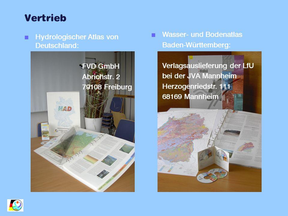 Vertrieb n Hydrologischer Atlas von Deutschland: FVD GmbH Abrichstr. 2 79108 Freiburg n Wasser- und Bodenatlas Baden-Württemberg: Verlagsauslieferung