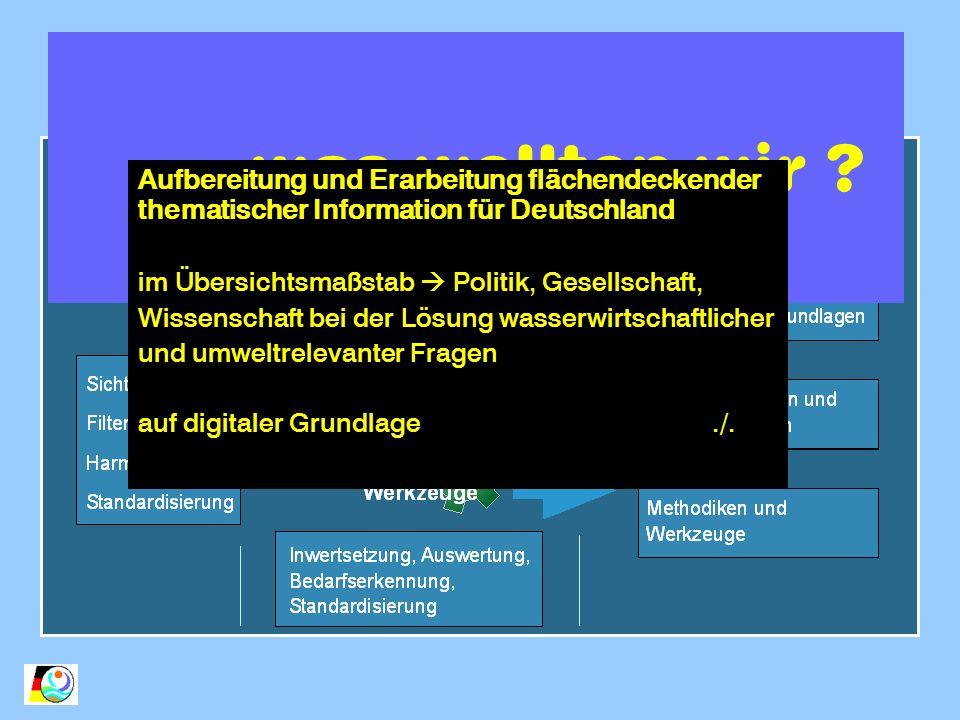 Aufgaben und Ziele was wollten wir ? Aufbereitung und Erarbeitung flächendeckender thematischer Information für Deutschland im Übersichtsmaßstab Polit