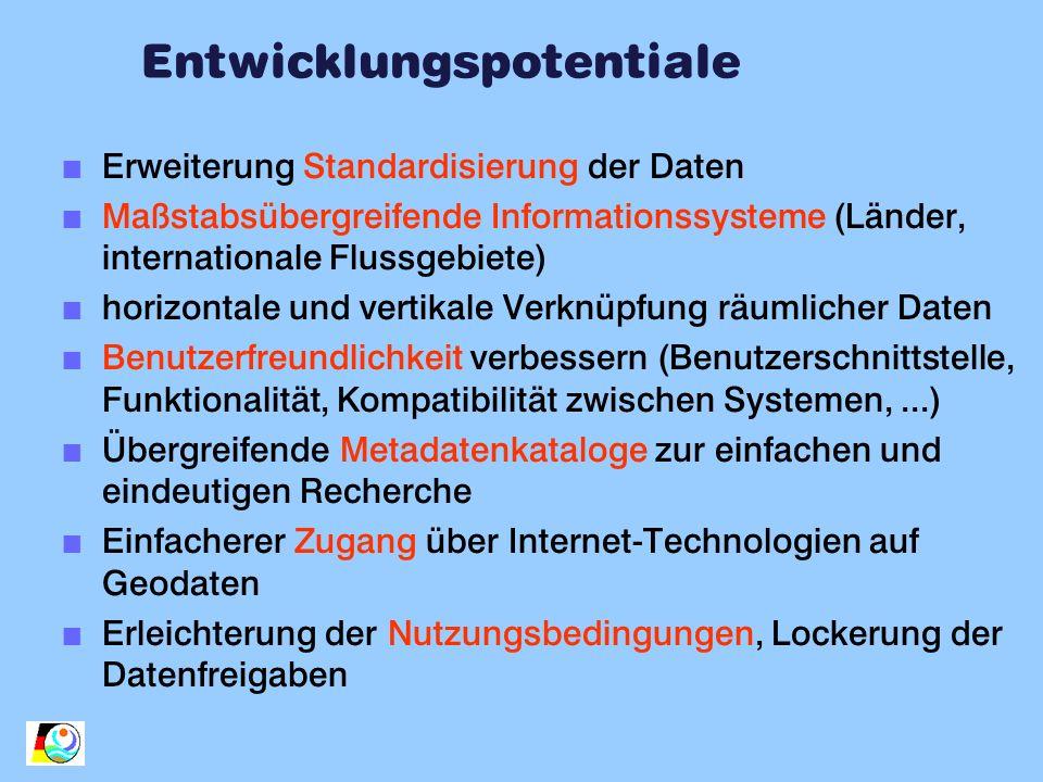 Entwicklungspotentiale n Erweiterung Standardisierung der Daten n Maßstabsübergreifende Informationssysteme (Länder, internationale Flussgebiete) n ho