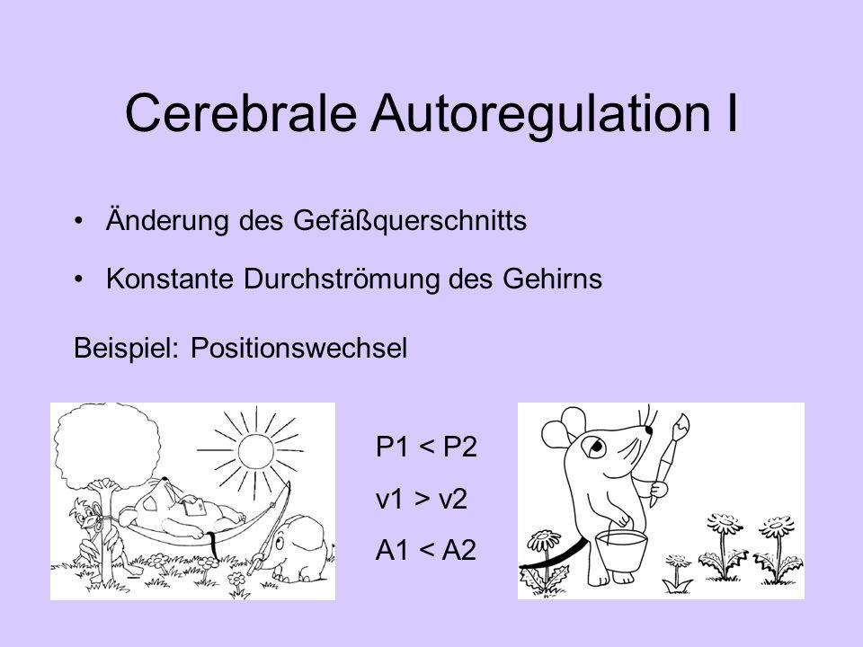 Cerebrale Autoregulation I Änderung des Gefäßquerschnitts Konstante Durchströmung des Gehirns Beispiel: Positionswechsel P1 < P2 v1 > v2 A1 < A2