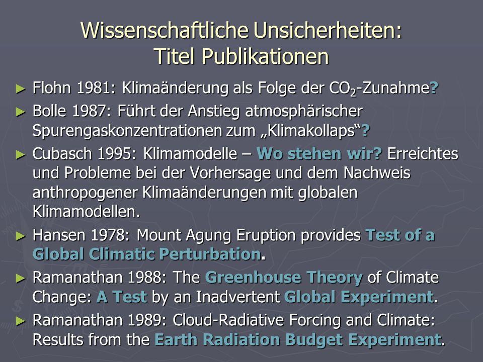 Wissenschaftliche Unsicherheiten: Titel Publikationen Flohn 1981: Klimaänderung als Folge der CO 2 -Zunahme? Flohn 1981: Klimaänderung als Folge der C