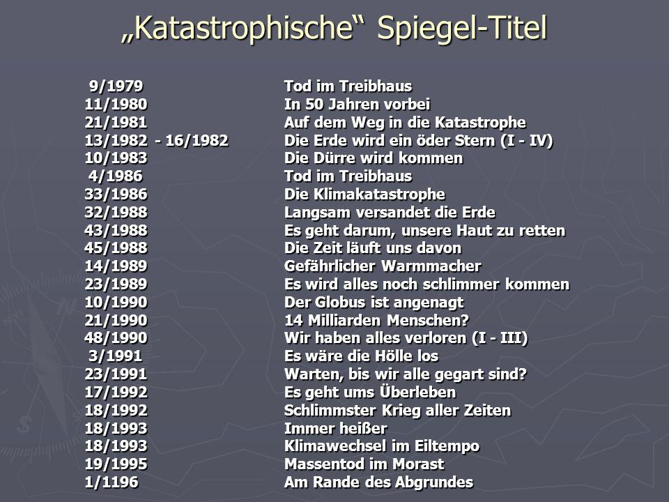 Katastrophische Spiegel-Titel 9/1979Tod im Treibhaus 9/1979Tod im Treibhaus 11/1980In 50 Jahren vorbei 21/1981Auf dem Weg in die Katastrophe 13/1982 -