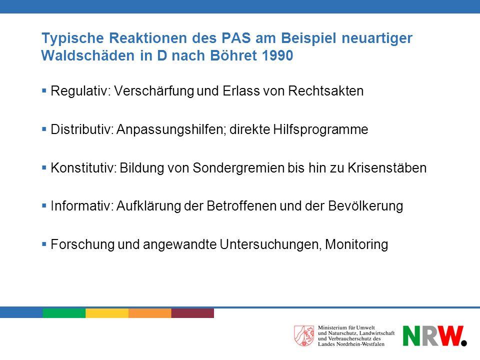 Typische Reaktionen des PAS am Beispiel neuartiger Waldschäden in D nach Böhret 1990 Regulativ: Verschärfung und Erlass von Rechtsakten Distributiv: A