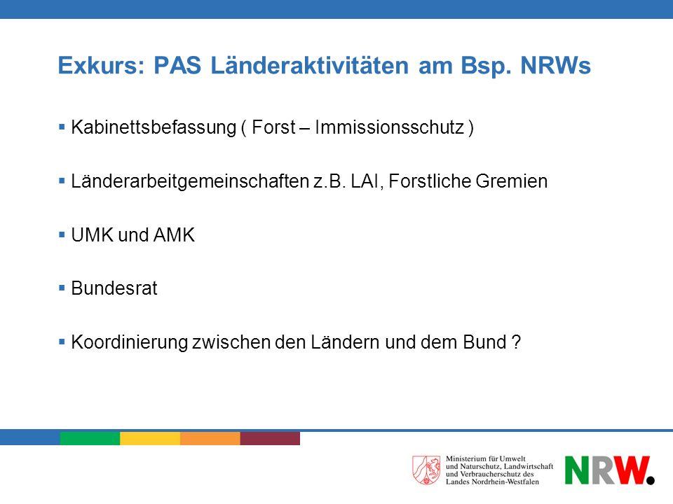 Exkurs: PAS Länderaktivitäten am Bsp. NRWs Kabinettsbefassung ( Forst – Immissionsschutz ) Länderarbeitgemeinschaften z.B. LAI, Forstliche Gremien UMK
