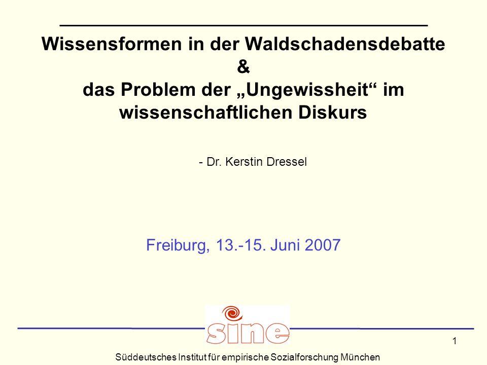 Süddeutsches Institut für empirische Sozialforschung München 1 Wissensformen in der Waldschadensdebatte & das Problem der Ungewissheit im wissenschaftlichen Diskurs Freiburg, 13.-15.