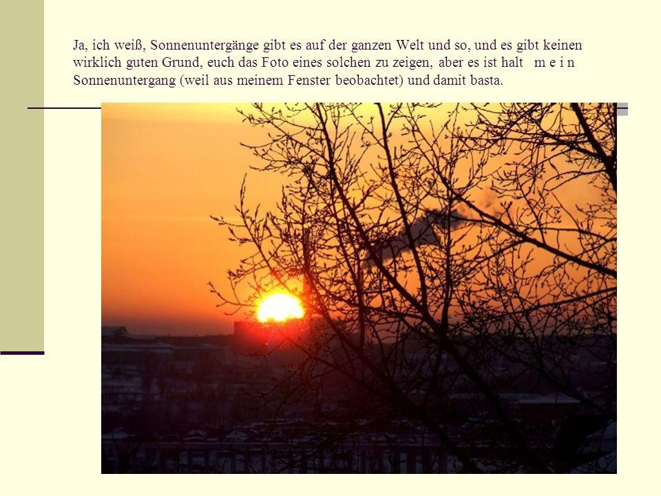 Ja, ich weiß, Sonnenuntergänge gibt es auf der ganzen Welt und so, und es gibt keinen wirklich guten Grund, euch das Foto eines solchen zu zeigen, abe