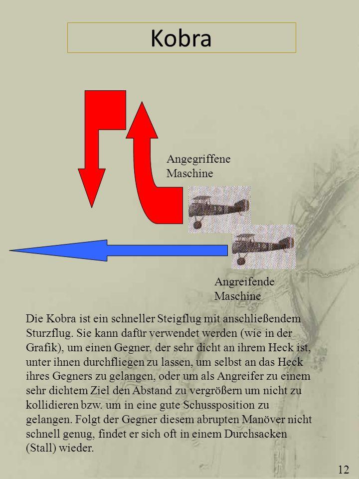 Kobra Angegriffene Maschine Angreifende Maschine Die Kobra ist ein schneller Steigflug mit anschließendem Sturzflug. Sie kann dafür verwendet werden (