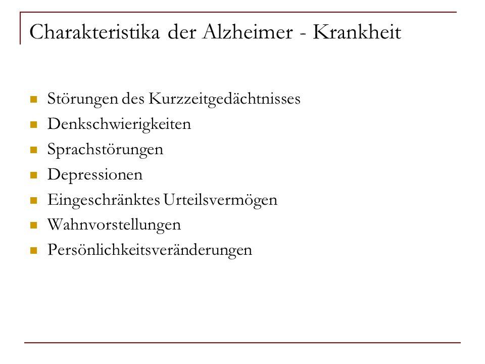 Charakteristika der Alzheimer - Krankheit Störungen des Kurzzeitgedächtnisses Denkschwierigkeiten Sprachstörungen Depressionen Eingeschränktes Urteils