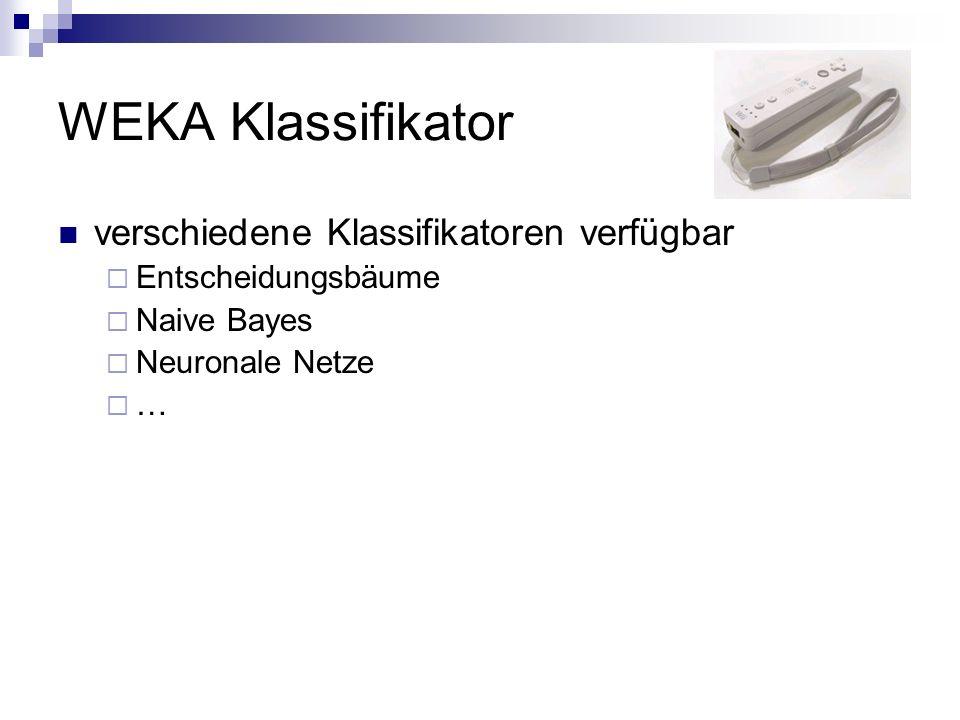 WEKA Klassifikator verschiedene Klassifikatoren verfügbar Entscheidungsbäume Naive Bayes Neuronale Netze …