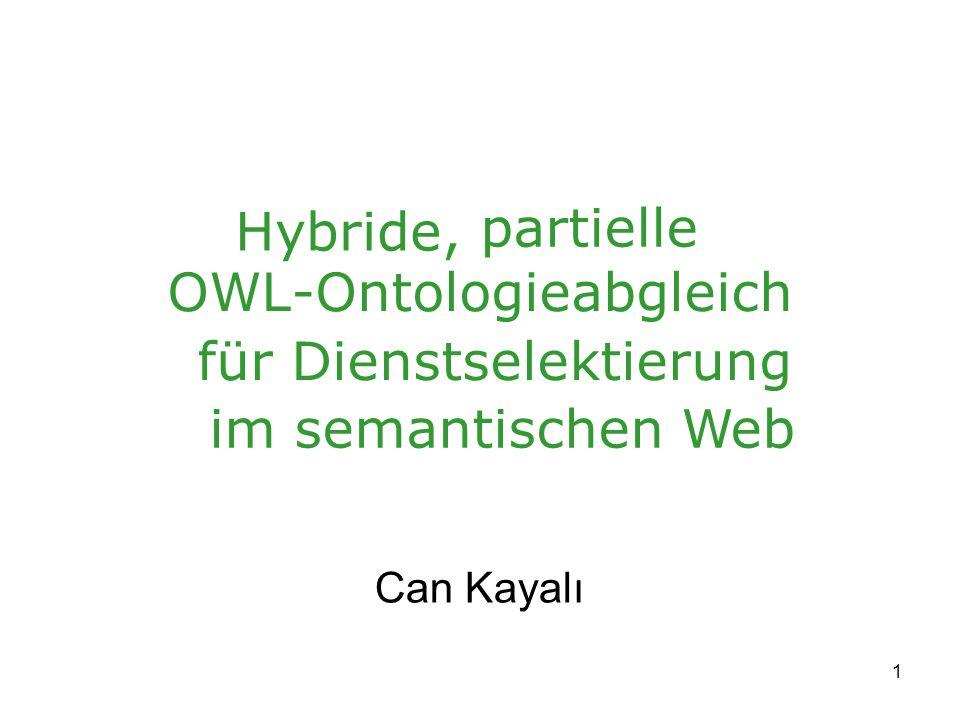 1 OWL-Ontologieabgleich Can Kayalı Hybride, partielle für Dienstselektierung im semantischen Web