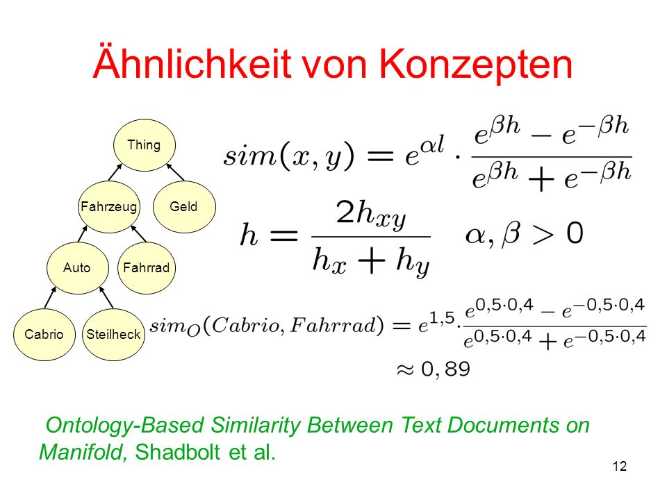 12 Ähnlichkeit von Konzepten Fahrzeug AutoFahrrad Thing Geld CabrioSteilheck Ontology-Based Similarity Between Text Documents on Manifold, Shadbolt et al.