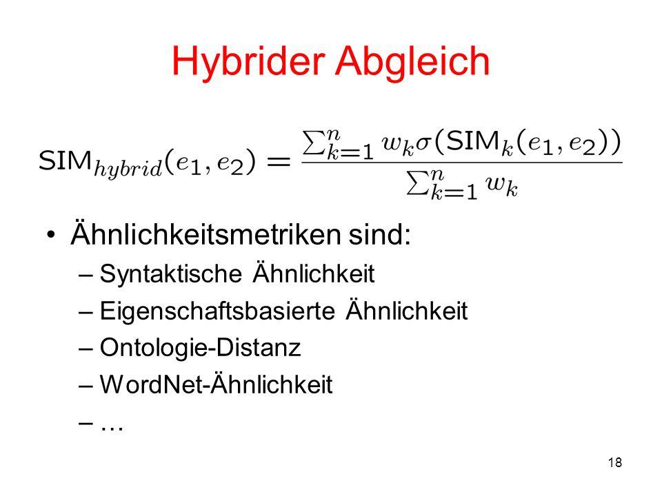 18 Hybrider Abgleich Ähnlichkeitsmetriken sind: –Syntaktische Ähnlichkeit –Eigenschaftsbasierte Ähnlichkeit –Ontologie-Distanz –WordNet-Ähnlichkeit –…