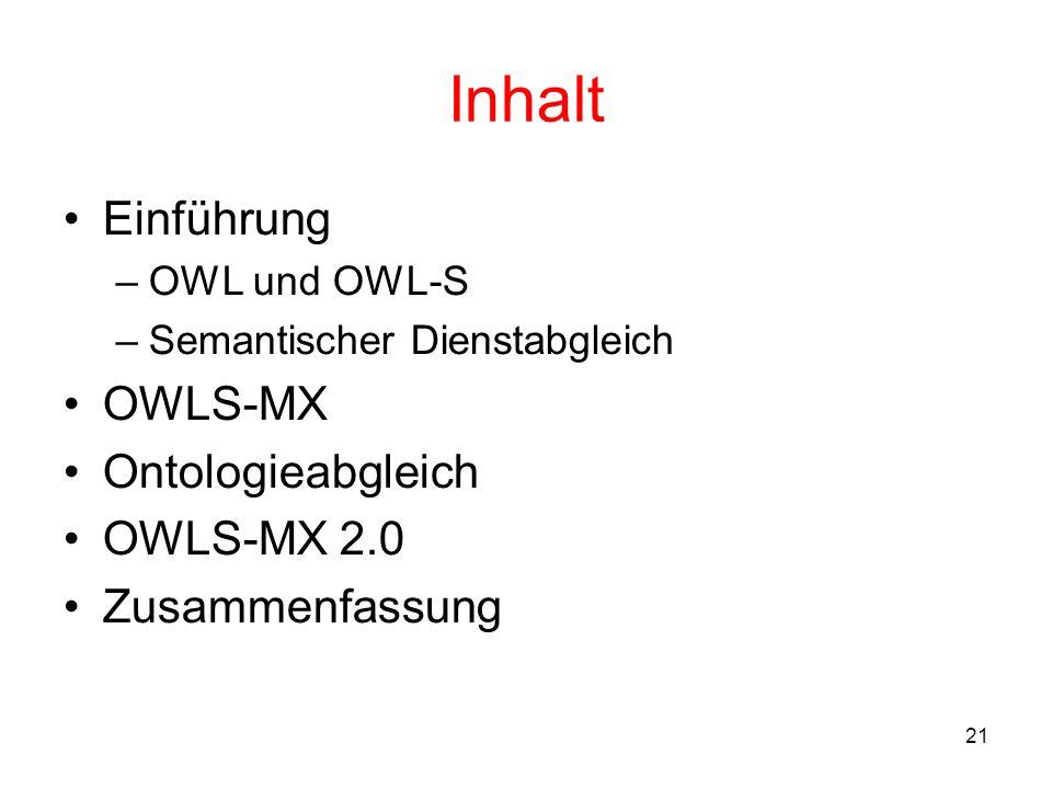 21 Inhalt Einführung –OWL und OWL-S –Semantischer Dienstabgleich OWLS-MX Ontologieabgleich OWLS-MX 2.0 Zusammenfassung