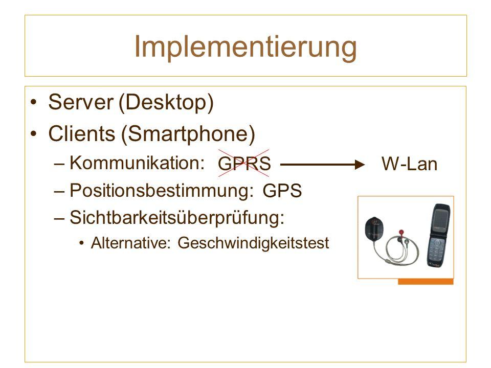 GPRS Implementierung Server (Desktop) Clients (Smartphone) –Kommunikation: –Positionsbestimmung: –Sichtbarkeitsüberprüfung: Alternative: Geschwindigkeitstest W-Lan GPS