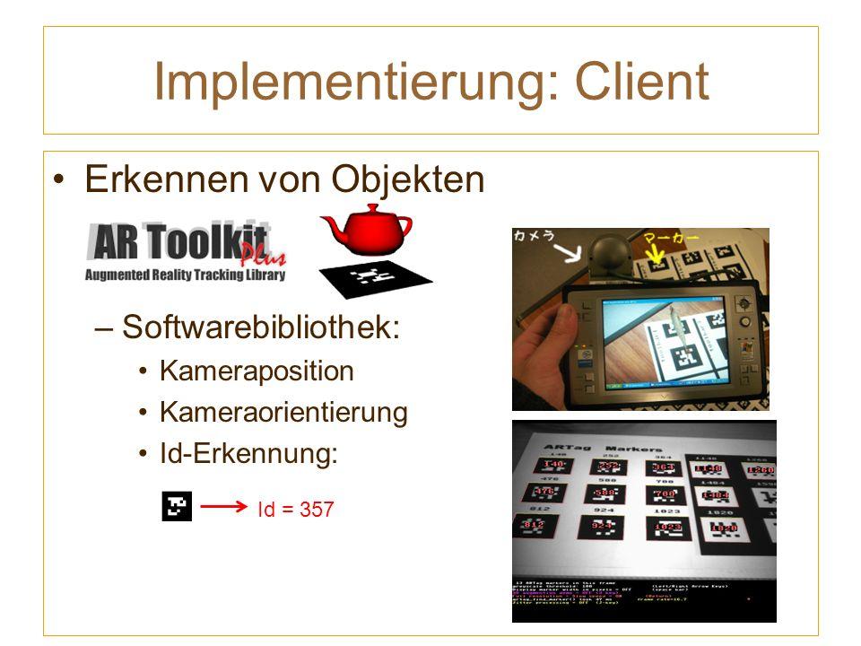 Implementierung: Client Erkennen von Objekten –Softwarebibliothek: Kameraposition Kameraorientierung Id-Erkennung: Id = 357