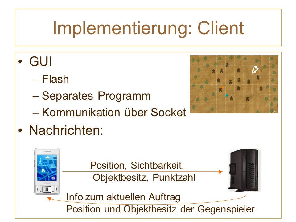 Implementierung: Client GUI –Flash –Separates Programm –Kommunikation über Socket Nachrichten: Position, Sichtbarkeit, Objektbesitz, Punktzahl Info zum aktuellen Auftrag Position und Objektbesitz der Gegenspieler