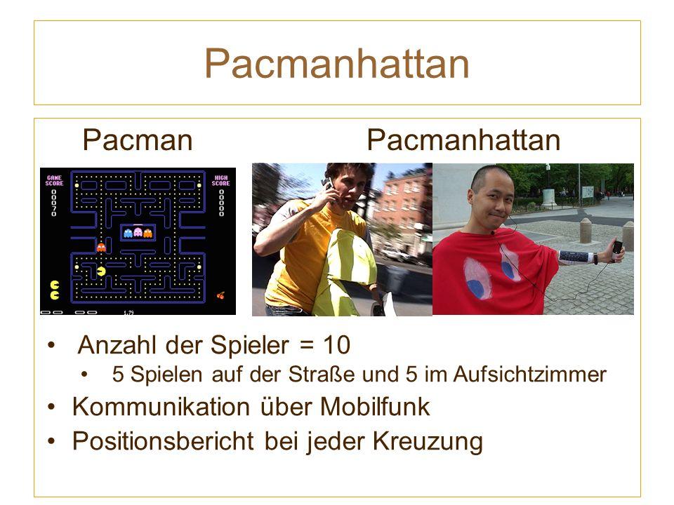 Pacmanhattan Pacman Pacmanhattan Anzahl der Spieler = 10 5 Spielen auf der Straße und 5 im Aufsichtzimmer Kommunikation über Mobilfunk Positionsbericht bei jeder Kreuzung