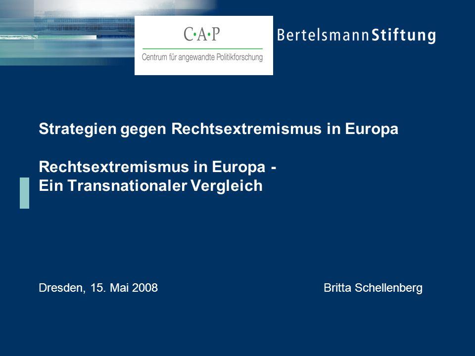 Strategien gegen Rechtsextremismus in Europa Rechtsextremismus in Europa - Ein Transnationaler Vergleich Dresden, 15. Mai 2008Britta Schellenberg