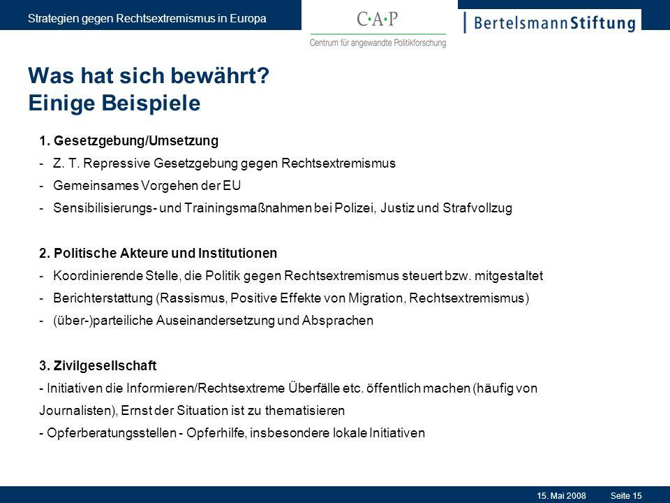 15. Mai 2008 Strategien gegen Rechtsextremismus in Europa Seite 15 Was hat sich bewährt? Einige Beispiele 1. Gesetzgebung/Umsetzung -Z. T. Repressive