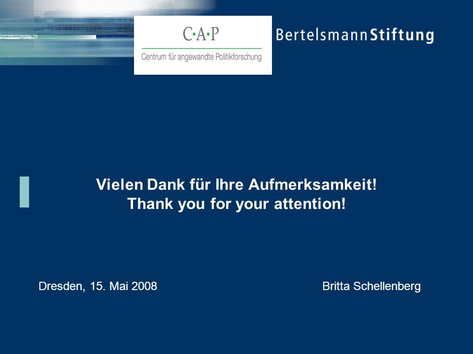 Vielen Dank für Ihre Aufmerksamkeit! Thank you for your attention! Dresden, 15. Mai 2008Britta Schellenberg