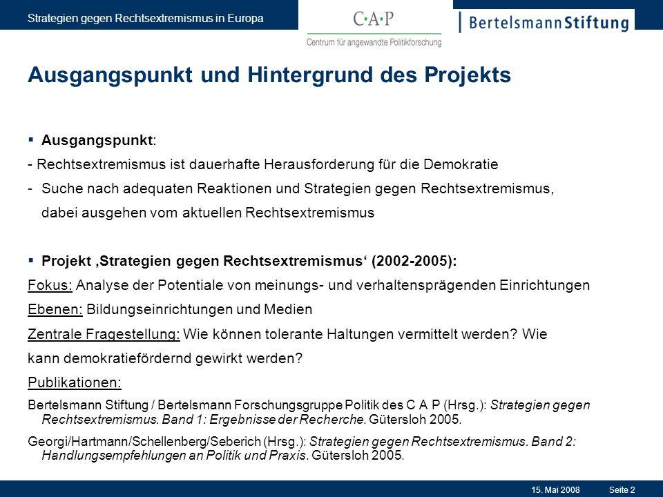 15. Mai 2008 Strategien gegen Rechtsextremismus in Europa Seite 2 Ausgangspunkt und Hintergrund des Projekts Ausgangspunkt: - Rechtsextremismus ist da