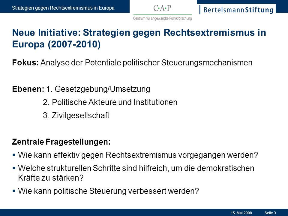 15. Mai 2008 Strategien gegen Rechtsextremismus in Europa Seite 3 Neue Initiative: Strategien gegen Rechtsextremismus in Europa (2007-2010) Fokus: Ana