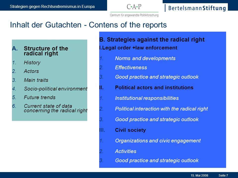 15. Mai 2008 Strategien gegen Rechtsextremismus in Europa Seite 7 Inhalt der Gutachten - Contens of the reports A.Structure of the radical right 1.His