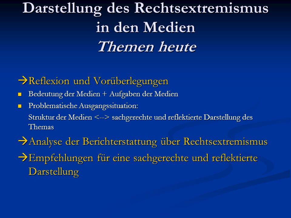 Darstellung des Rechtsextremismus in den Medien I.