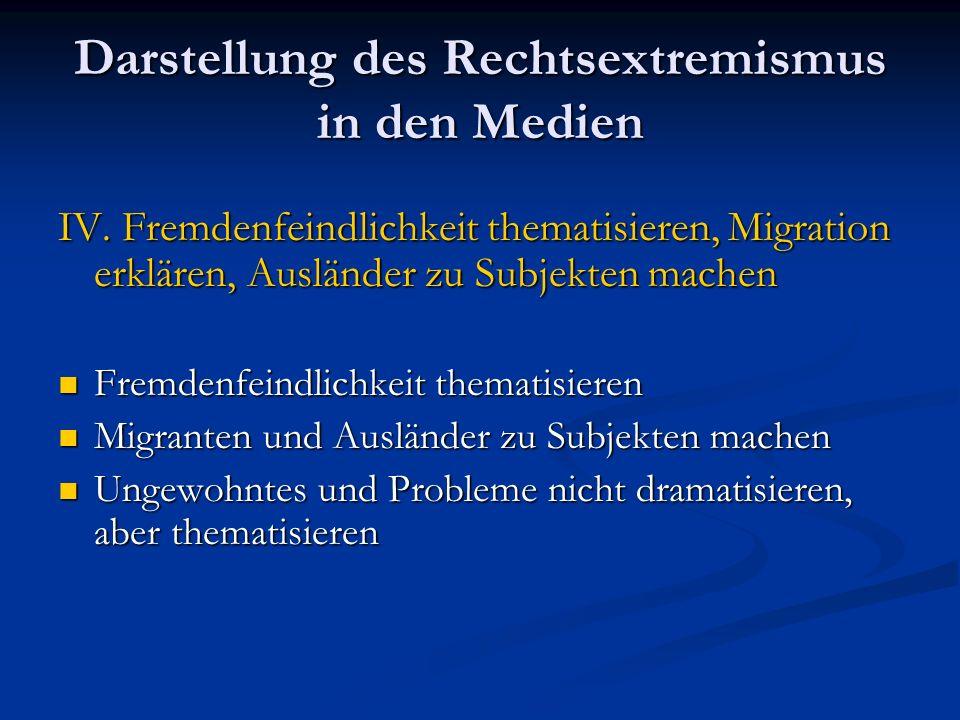 Darstellung des Rechtsextremismus in den Medien IV. Fremdenfeindlichkeit thematisieren, Migration erklären, Ausländer zu Subjekten machen Fremdenfeind