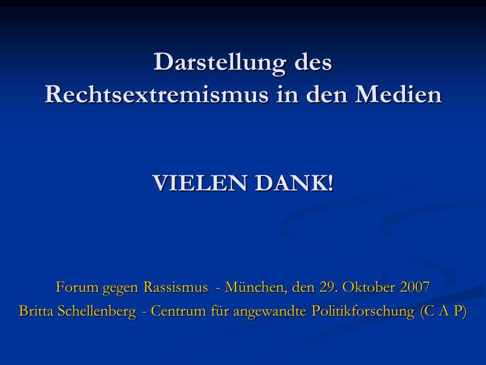 Darstellung des Rechtsextremismus in den Medien VIELEN DANK! Forum gegen Rassismus - München, den 29. Oktober 2007 Britta Schellenberg - Centrum für a