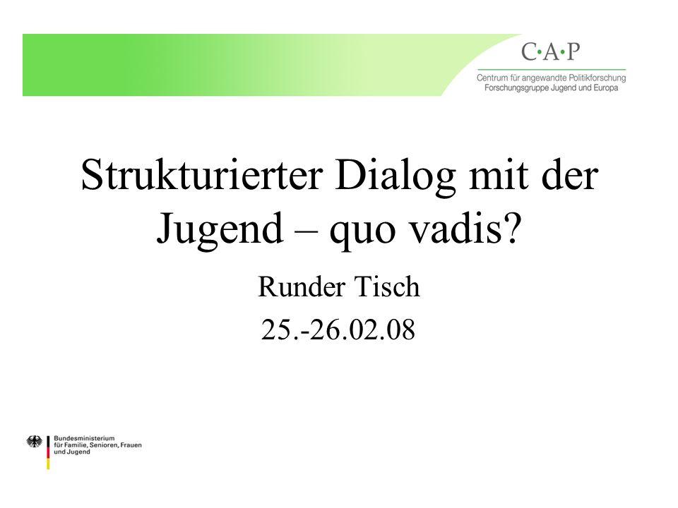 Strukturierter Dialog mit der Jugend – quo vadis? Runder Tisch 25.-26.02.08