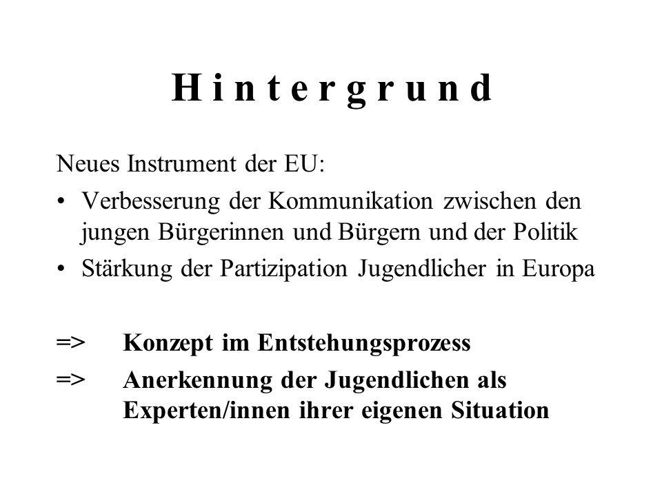 H i n t e r g r u n d Neues Instrument der EU: Verbesserung der Kommunikation zwischen den jungen Bürgerinnen und Bürgern und der Politik Stärkung der