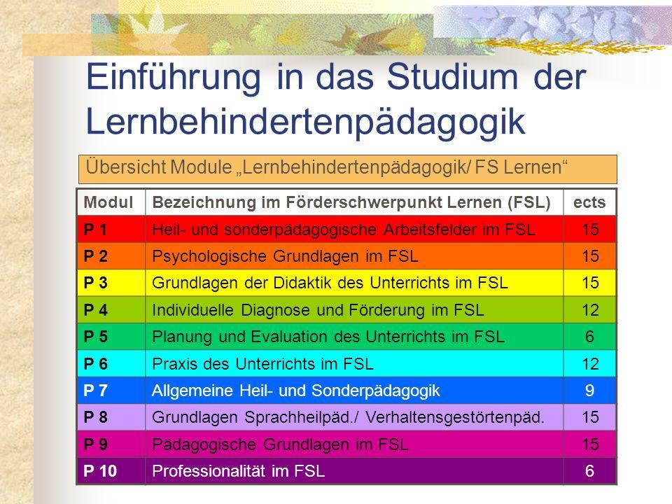 Studienaufbau Lehramt für Sonderpädagogik (9 Semester, 270 ects) Sonderpädagogische Fachrichtung Lernbehindertenpädagogik/ FS Lernen (120 ects) Prakti
