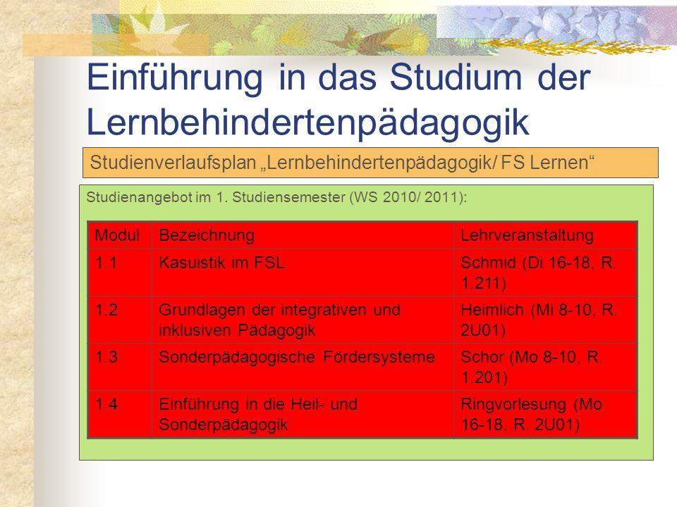 Einführung in das Studium der Lernbehindertenpädagogik Übersicht Module Lernbehindertenpädagogik/ FS Lernen ModulBezeichnung im Förderschwerpunkt Lern