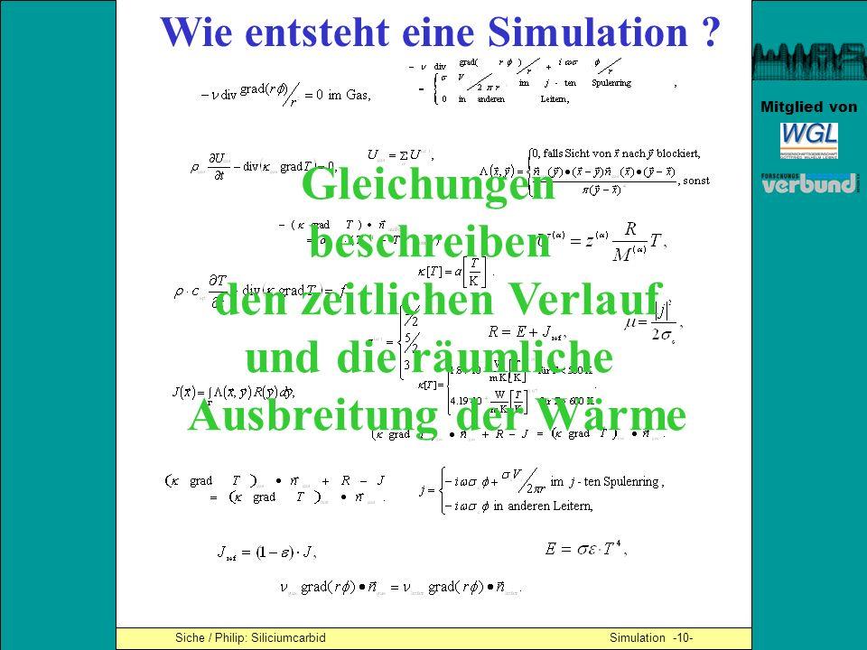 Mitglied von Wie entsteht eine Simulation ? Gleichungen beschreiben den zeitlichen Verlauf und die räumliche Ausbreitung der Wärme Siche / Philip: Sil