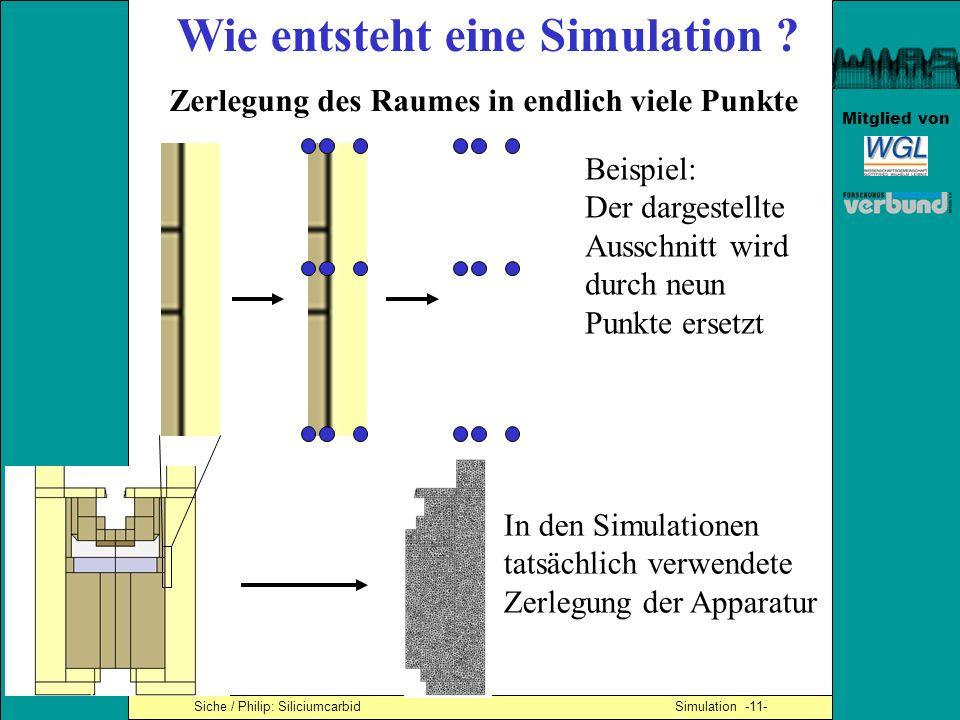 Mitglied von Siche / Philip: Siliciumcarbid Simulation -11- Wie entsteht eine Simulation ? Zerlegung des Raumes in endlich viele Punkte Beispiel: Der