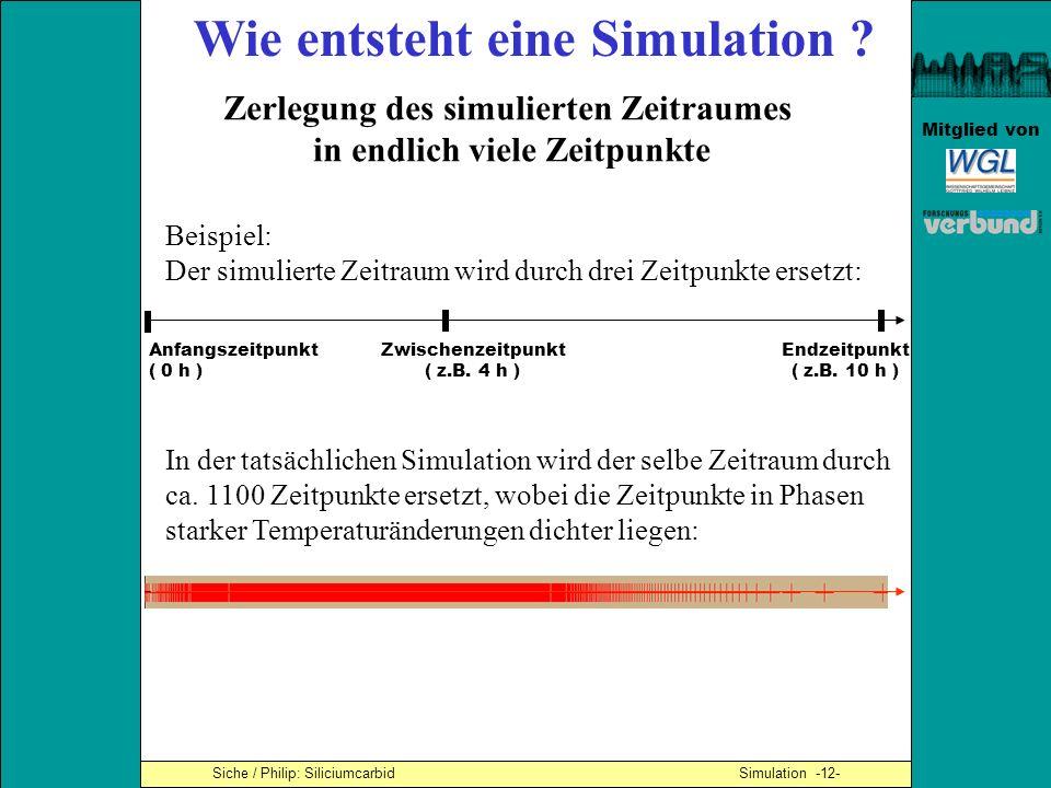 Mitglied von Siche / Philip: Siliciumcarbid Simulation -12- Wie entsteht eine Simulation ? Zerlegung des simulierten Zeitraumes in endlich viele Zeitp