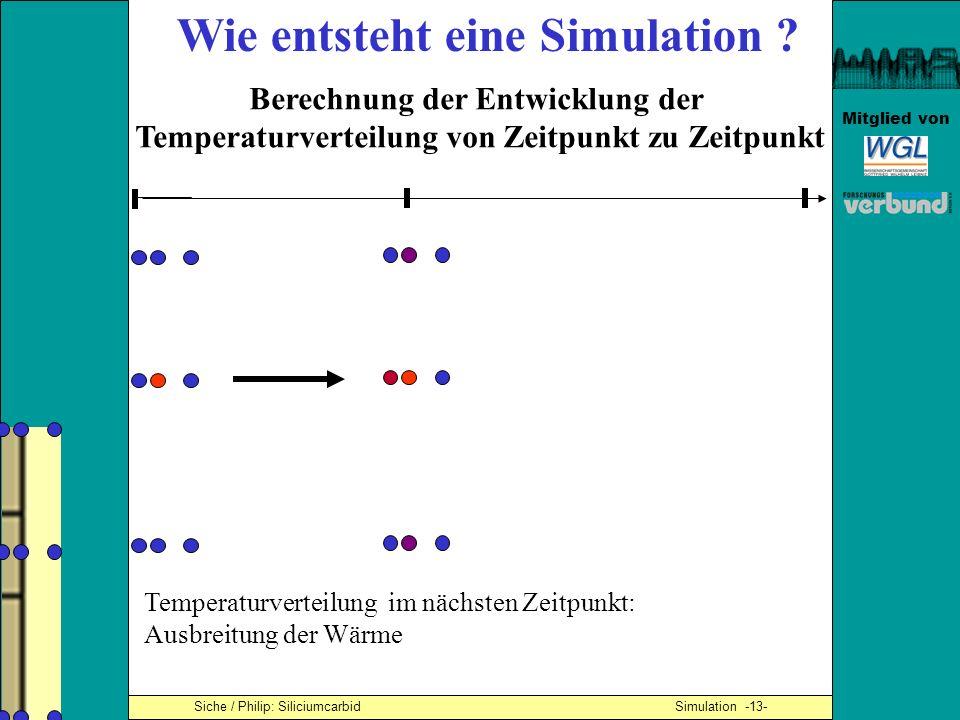 Mitglied von Siche / Philip: Siliciumcarbid Simulation -13- Wie entsteht eine Simulation ? Berechnung der Entwicklung der Temperaturverteilung von Zei