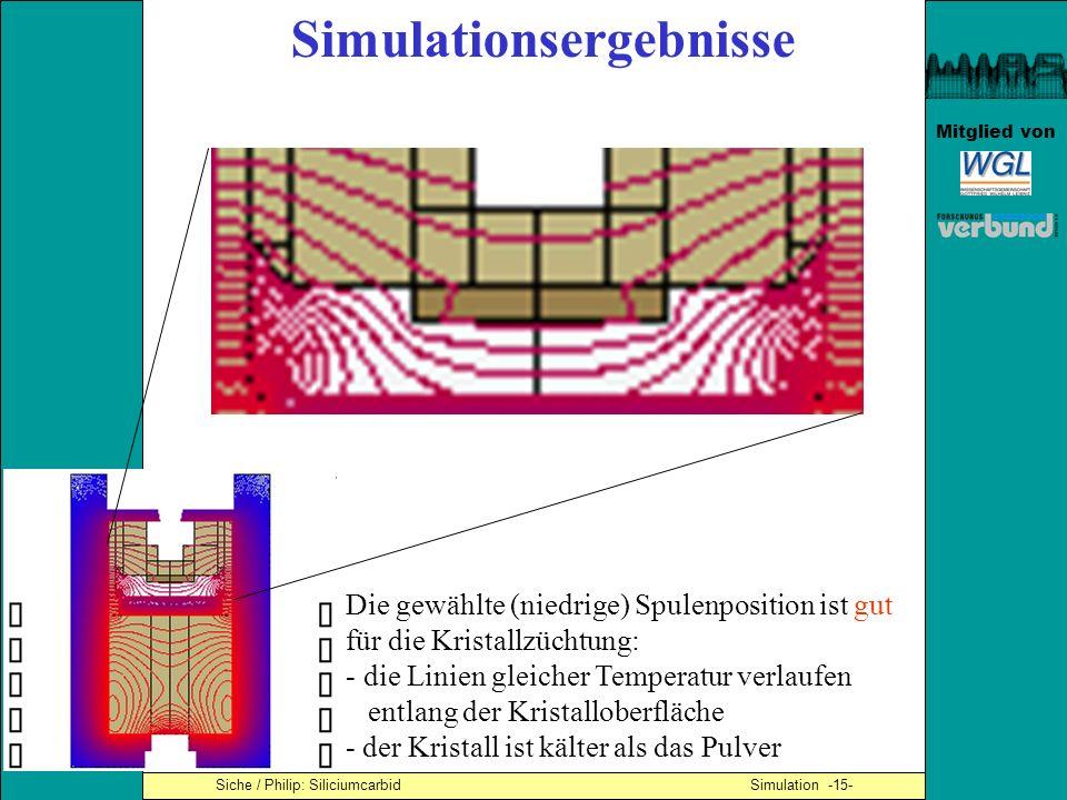Mitglied von Siche / Philip: Siliciumcarbid Simulation -15- Die gewählte (niedrige) Spulenposition ist gut für die Kristallzüchtung: - die Linien glei