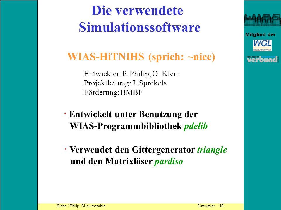 Mitglied der Die verwendete Simulationssoftware WIAS-HiTNIHS (sprich: ~nice) · Entwickelt unter Benutzung der WIAS-Programmbibliothek pdelib · Verwend
