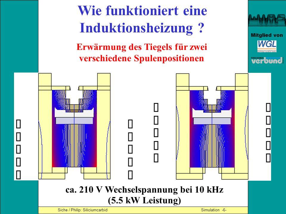 Mitglied von Siche / Philip: Siliciumcarbid Simulation -6- Wie funktioniert eine Induktionsheizung ? Erwärmung des Tiegels für zwei verschiedene Spule
