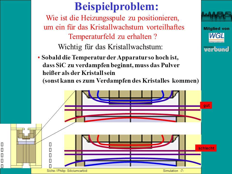Mitglied von Beispielproblem: Wie ist die Heizungsspule zu positionieren, um ein für das Kristallwachstum vorteilhaftes Temperaturfeld zu erhalten ? S