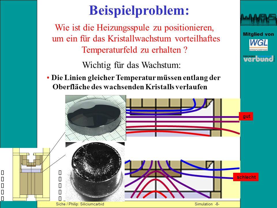 Mitglied von Siche / Philip: Siliciumcarbid Simulation -15- Die gewählte (niedrige) Spulenposition ist gut für die Kristallzüchtung: - die Linien gleicher Temperatur verlaufen entlang der Kristalloberfläche - der Kristall ist kälter als das Pulver Simulationsergebnisse